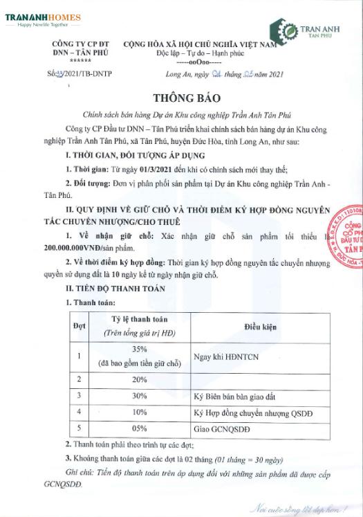 phương thức thanh toán KCN Trần Anh Tân Phú